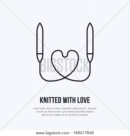 Knit shop line logo. Yarn store flat sign, illustration of circular knitting needles with heart shape.