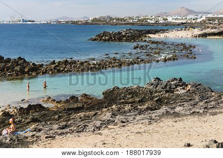 Costa Teguise Lagoon In Lanzarote, Spain, Editorial
