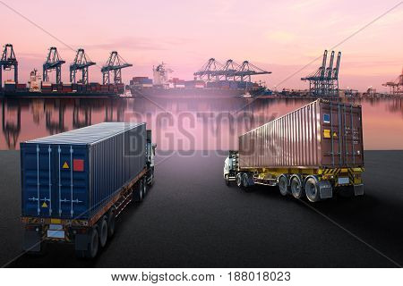 truck with container and ship import export goods .