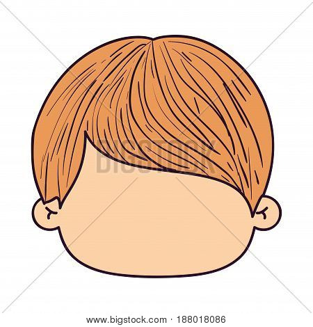 colorful caricature faceless front view boy with hairstyle vector illustration
