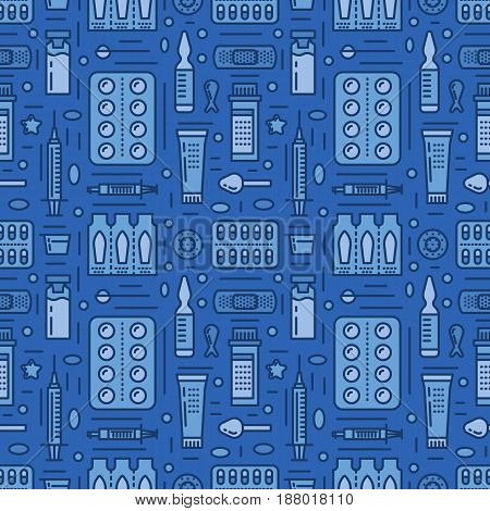 Medical, drugstore seamless pattern, medicament vector blue background. Dosage forms thin line icons - tablet, capsules, pills. Healthcare cute repeated illustration for hospital.