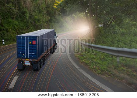 truck with container go on the mountain road.