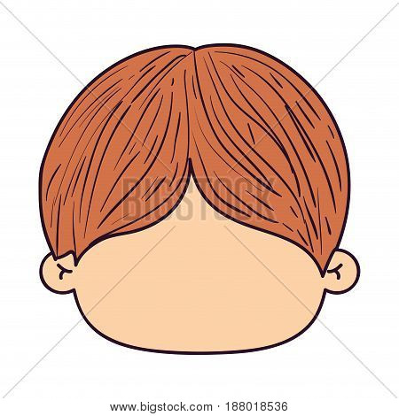 colorful caricature faceless front view kid with hairstyle vector illustration