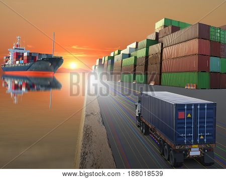 truck ship with container on sunset background.