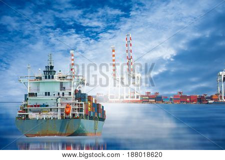 ship in the dock import export goods to customer for opportunity of business.