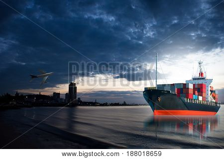 ship with container still on city bay.