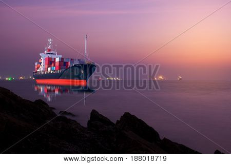 ship with container import export goods to custom.