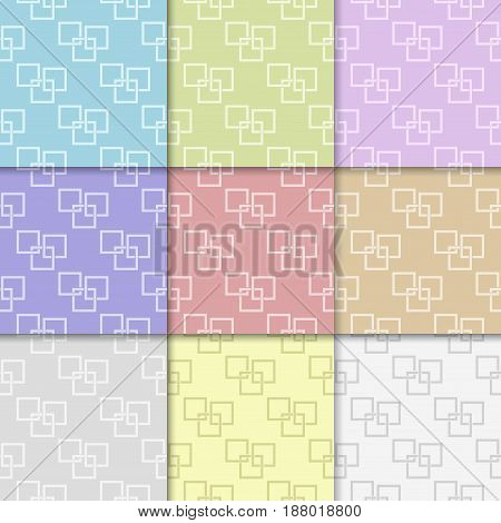 Geometric seamless pattern. Abstract background with square elements. Colored collection. Vector illustration