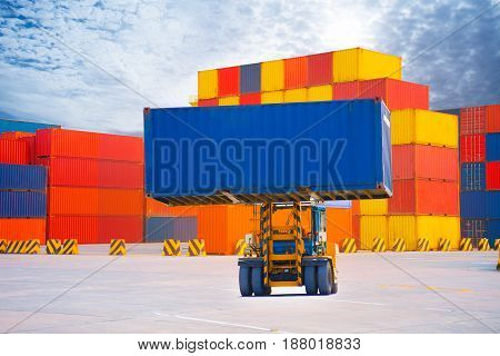 Forklift handling container box import export goods to custom .