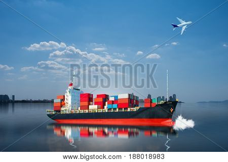 ship with container on blue ocean import export goods.