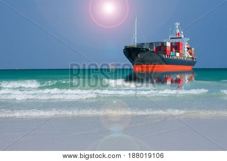 ship with container in ocean import export goods to custom.