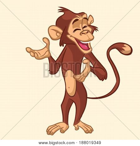 Cartoon monkey smiling. Vector illustration of chimpanzee character