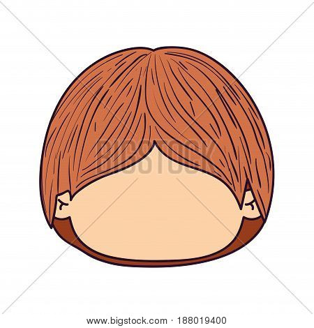 colorful caricature faceless front view cute kid with hairstyle vector illustration