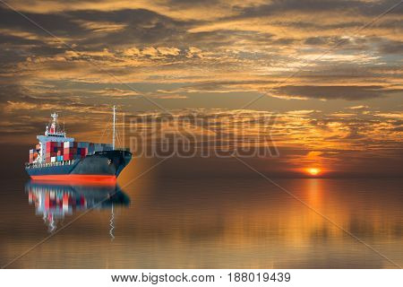 ship with container on sunset import export goods to custom.