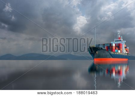ship with container on stormy sky import export goods .