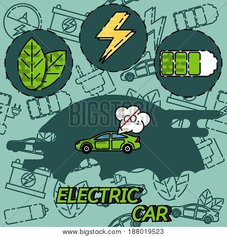 Electric car flat infographic concept. Electric car on charging station. Vector Electric car infographic with icons.