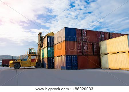 container with forklift delivery goods import export goods.