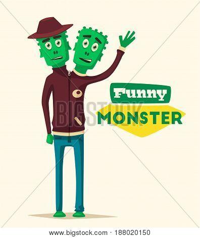 Funny monster. Cartoon vector illustration. Alien character. Friendly person. Imagination bright mutant