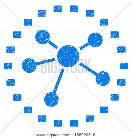 Grunge Dotted Links Diagram icon with grunge design and dust texture. Unclean vector blue pictogram for rubber seal stamp imitations and watermarks. Draft sign symbol.
