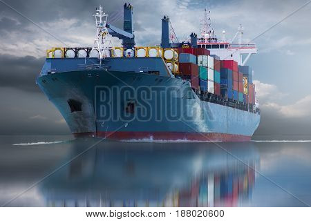 big ship with container delivery goods import export to custom.