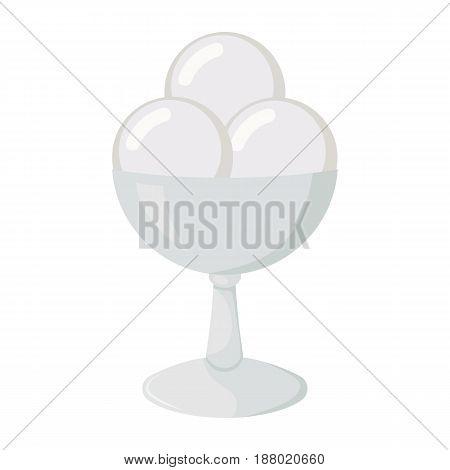 Vector illustration of ice cream. Cream ice cream in a glass vase