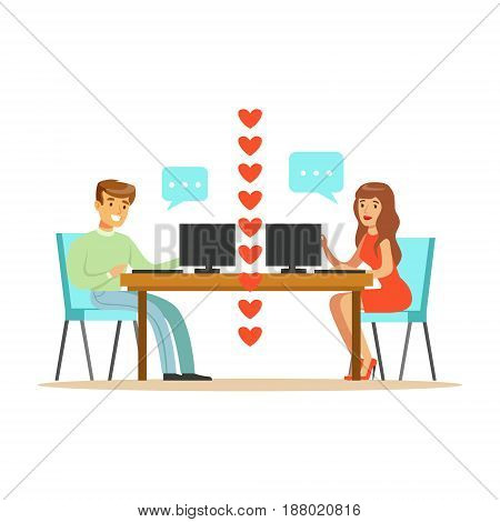 Young man and woman in love chatting sitting in their office colorful character vector Illustration isolated on a white background