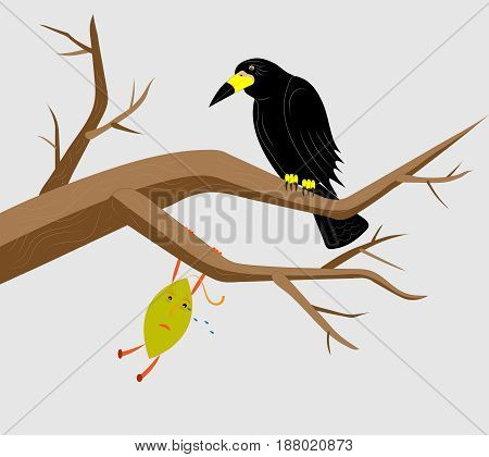 The black raven sits on branches together with a tree leaf