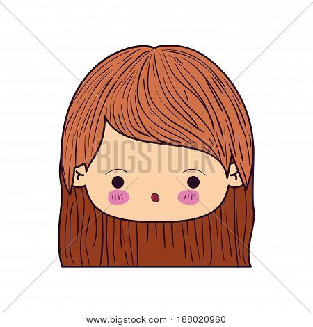 colorful caricature kawaii face little girl with straight short hair and facial expression of surprise vector illustration
