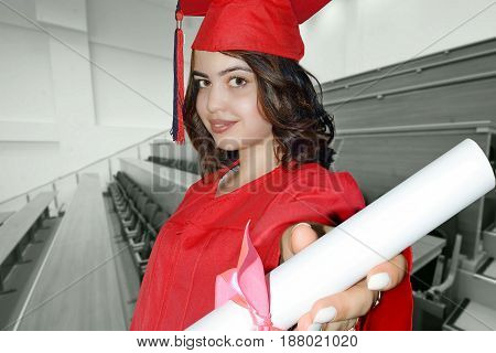 photography with scene of the beautiful girl student with diploma