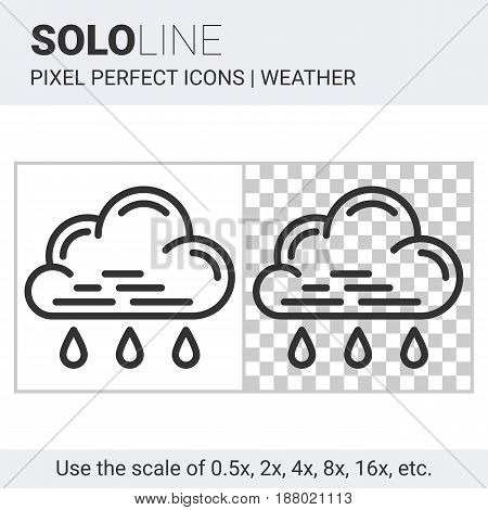 Pixel Perfect Light Rain Icon In Thin Line Style On White And Transparent Background