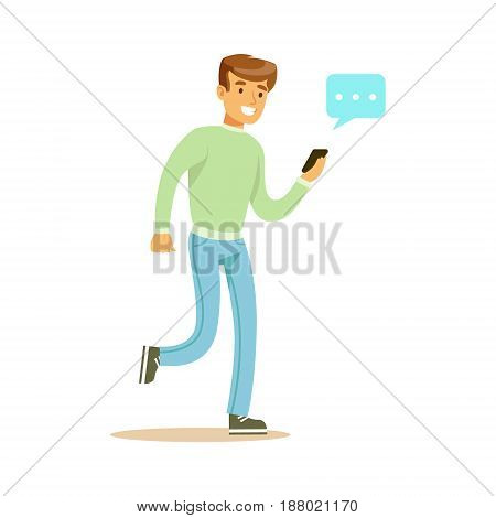 Young man walking and sending a message to someone using his smartphone colorful character vector Illustration isolated on a white background