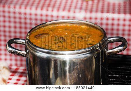 Stew In Metal Pot
