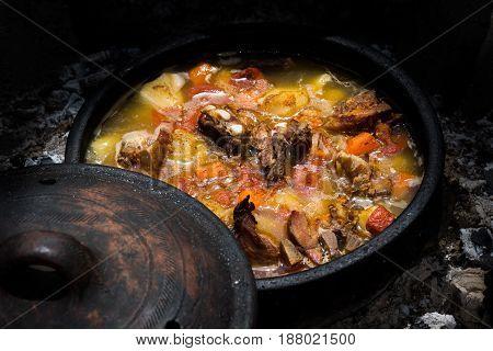 Stew In Earthen Vessel