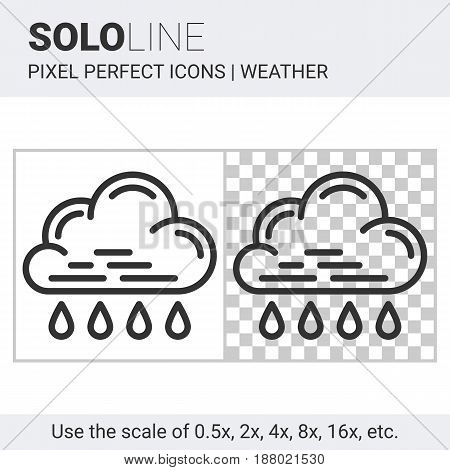 Pixel Perfect Rain Icon In Thin Line Style On White And Transparent Background