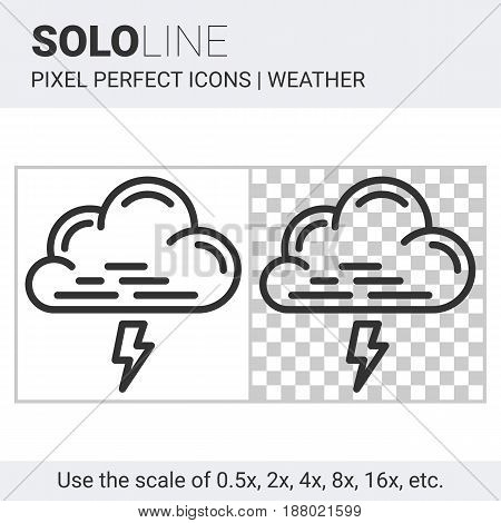 Pixel Perfect Thunderstorm Icon In Thin Line Style On White And Transparent Background