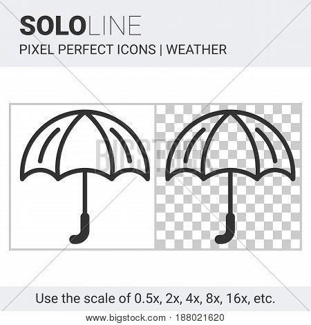 Pixel Perfect Umbrella Icon In Thin Line Style On White And Transparent Background