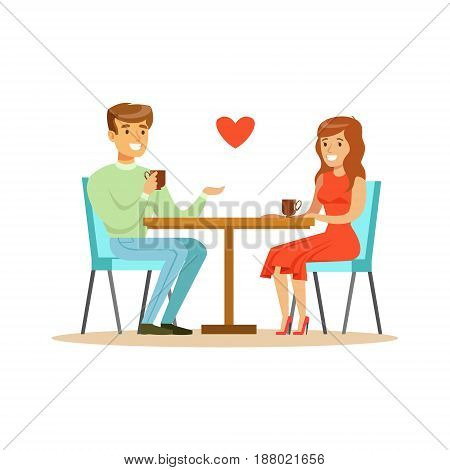 Young happy couple in love sitting in cafe colorful character vector Illustration isolated on a white background