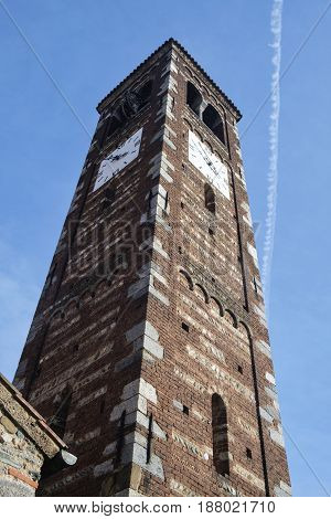 Medieval church of Santi Pietro e Paolo in Agliate (Monza Brianza Lombardy Italy): the belfry