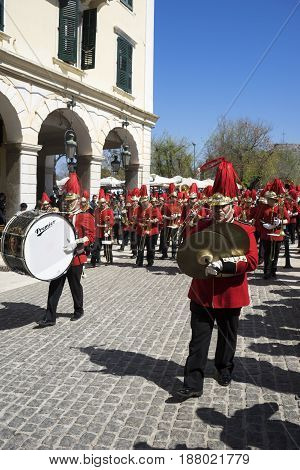 Corfu, Greece - March 25, 2017: Philharmonic Musicians In The Customary Lament Procession On The Mor