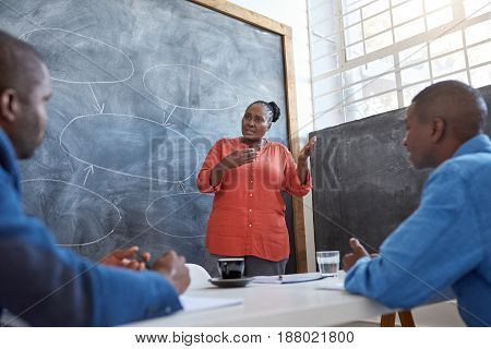 Focused young African businesswoman giving a presentation to colleagues while standing in front of a chalkboard in a modern office