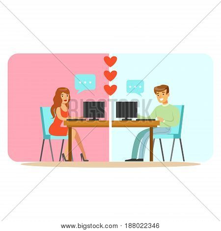 Man and woman chatting on their computers colorful character vector Illustration isolated on a white background