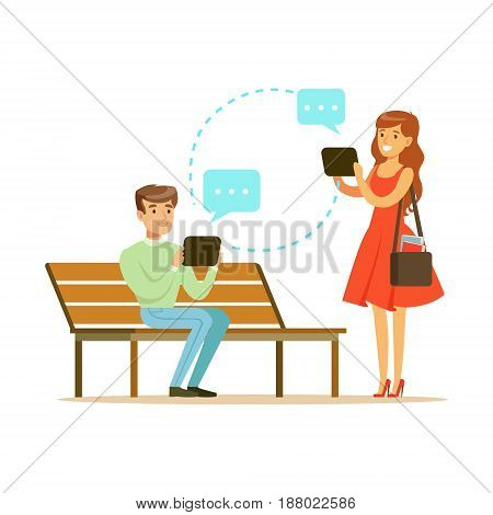 Young man and woman communicatitng with their tablets in the park colorful character vector Illustration isolated on a white background
