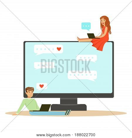 Young man and woman sitting on a big computer and using their own tablets to communicate character vector Illustration isolated on a white background