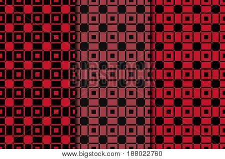Checkered fabric background. Red seamless pattern. Vector illustration