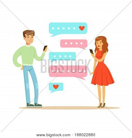 Two lovers chatting with their mobile phones colorful character vector Illustration isolated on a white background