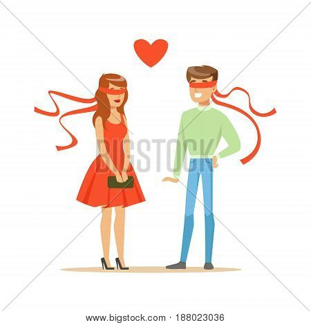 Young enamored man and woman blindfolded colorful character vector Illustration isolated on a white background