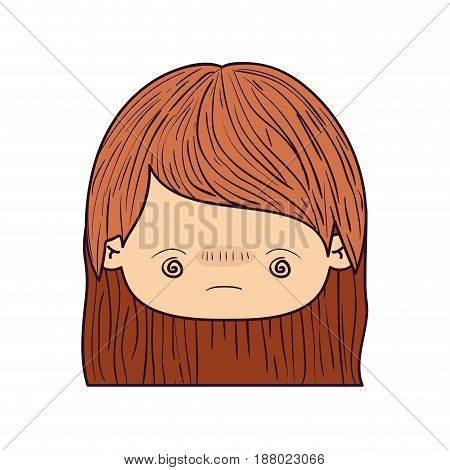 colorful caricature kawaii face little girl with stripe short hair and facial expression bored vector illustration