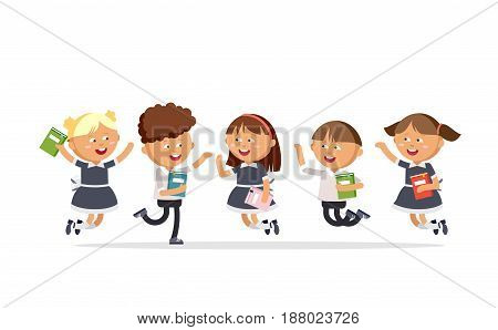 Happy pupils are jumping against a white background. Group of primary school students. Vector illustration in cartoon style