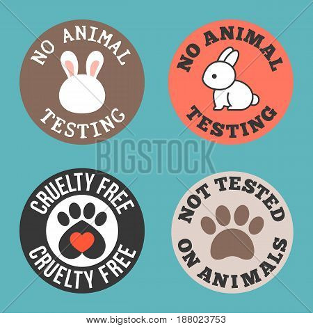 No animal testing and cruelty free for use in label of cosmetic and pharmaceutical products, flat design tag