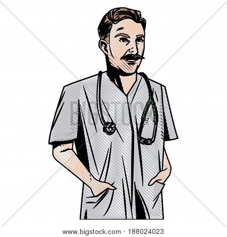 doctor male with stethoscope and mustache vector illustration
